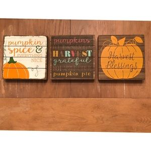 """Accents - Wood fall harvest wall decor 8"""" x 8"""" set of 3"""